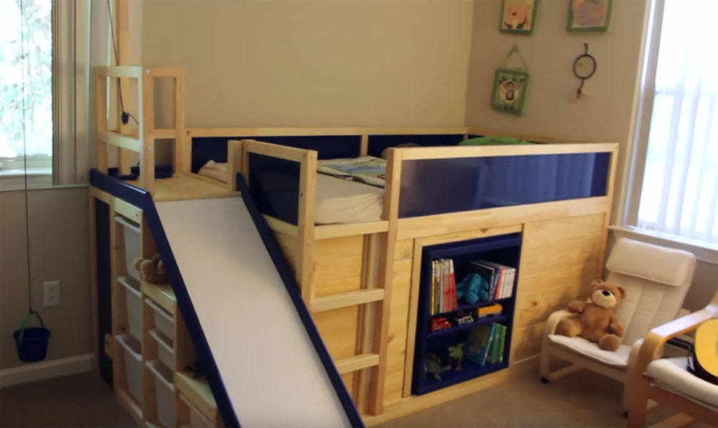 Ikea Hack Kura Bed With Slide And Secret Room