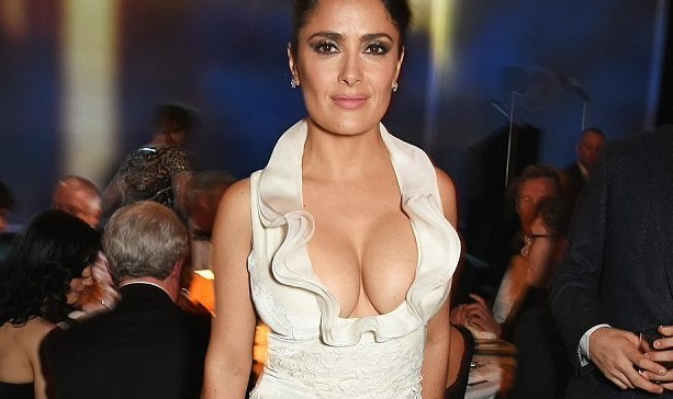 Salma Hayek and her huge rack at the Standard Theatre Awards in Lonon.
