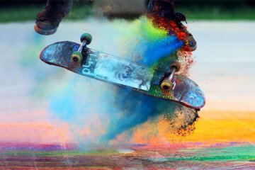 cool sport visual spectacle skateboarding color powder