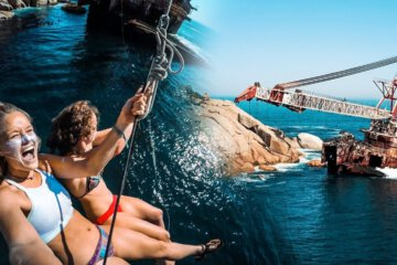 Insane Shipwreck Rope Swing at 70ft