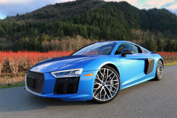 Skateboarder Makes Ollie onto hood Audi R8 1