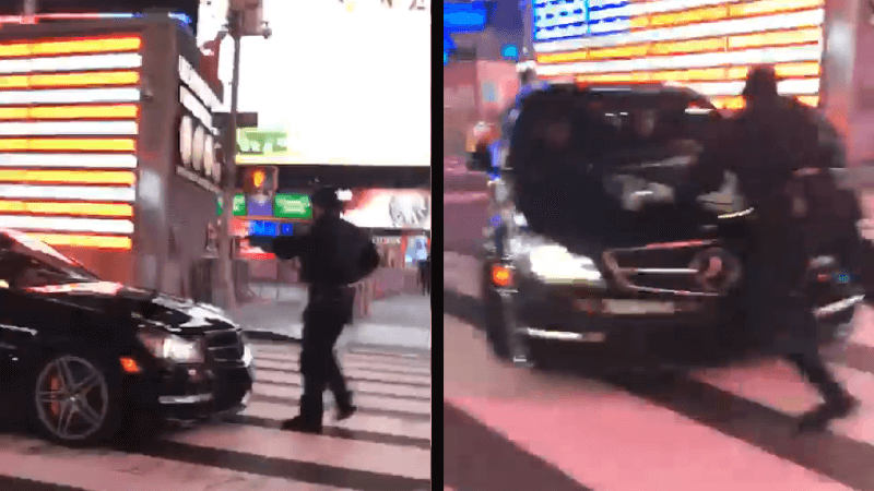 Mercedes AMG Attempts to Run Over Cop in Times Square