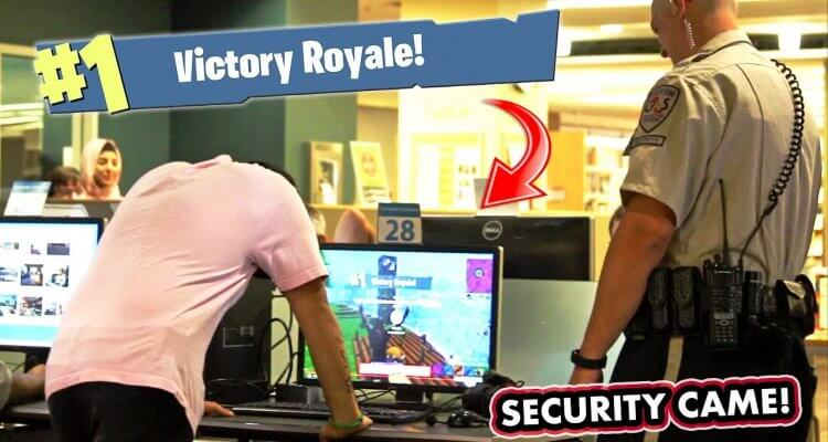 Playing Fortnite in the Library! 1
