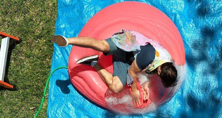 Falling onto a Giant Water Balloon (Slow-Mo) 1